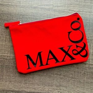 RARE  • NWOT • Max & Co. Red Zip Top Travel Pouch